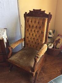 Eastlake Victorian chair on wheels