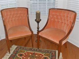 Pair of velvet tufted back side chairs