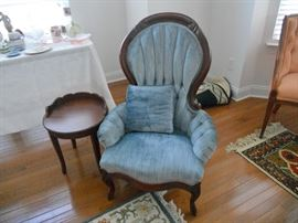 One of a pair of antique Victorian chairs