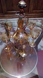 Romanian hand blown amber Decanter set!