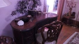 Phenominal small kidney shaped hand carved wood inlay desk with chair!!