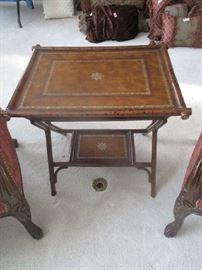 Tray table with leather top