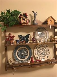 Display shelf, bird houses, miniatures, Courier & Ives plate, Blue Onion Plate, opalescent sugar and creamer ivory tooth & misc