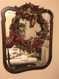 Antique mirror w/ wreath