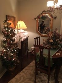 Lighted tree, antique buffet, antique table and chairs , mirror,