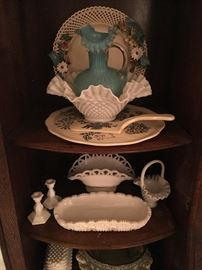 Milk glass, platter and server, Fenton art glass pitcher, antique plate.