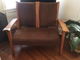oak settee - great for two people - not signed