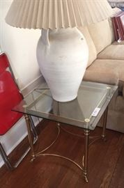 gold chrome and glass end table