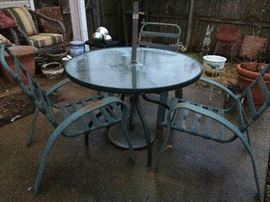 Round Glass Outdoor Table w/3 chairs.  Various Planters.