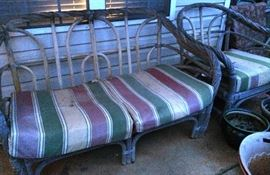 Bent Twig Settee w/Matching Chair (top cushions removed to show structure)