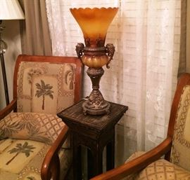 Plant stand, Decorative piece, Floor lamp.
