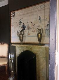 antique metal fireplace mantel     fireplace accessories      urns     Oriental art