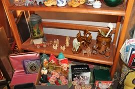 Vintage Van Briggle pottery, Scene In Action Co. motion lamp, as-is and vintage Christmas, Elf on the Shelf, Uncle Mistletoe and Aunt Holly ornaments