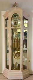 Sligh Grandfather Clock w/ Glass Display Shelves
