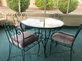 Wrought Iron/Glass Table w/ 4 Arm Chairs