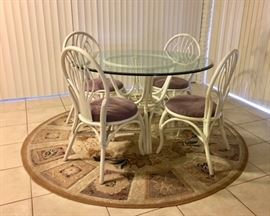 White Rattan/Glass-top Dinette w/ 4 Chairs