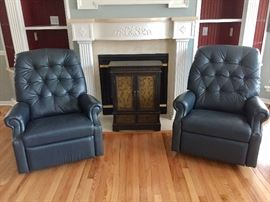 Matching Pair of Navy Lazy Boy ReCliners and Nice Small Cabinet