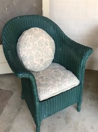 Great upholstery ! Antique wicker chair