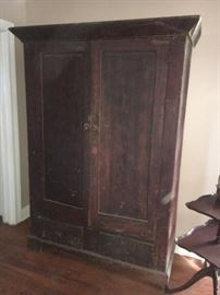 Antique, painted graining, linen press or armoire. Almost primitive;  square nails. Note lose-up picture of graining in next image