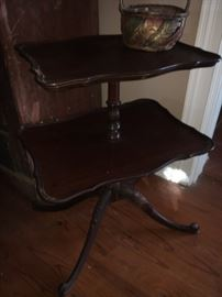 Two tier mahogany parlor table