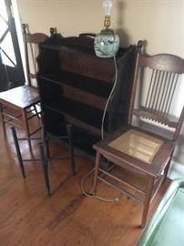 Pair of antique oak chairs with caning  Three tier bookcase
