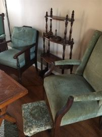 Wonderful vintage chairs along side four tier mahogany table