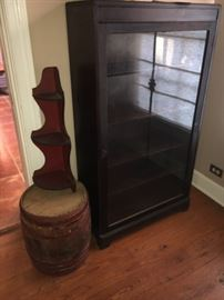 Oak keg vintage   Nice glass front bookcase it also locks!