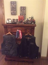 Leather Harley Davidson vests and other motorcycle items
