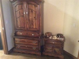 Wood armoire and matching nightstand- 3 pieces in this pattern