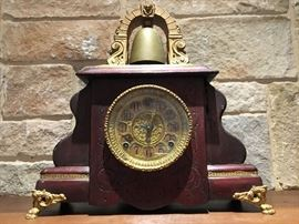 Antique Gilbert Mantel 'Curfew' 8 day Clock.  (Photo by BC)