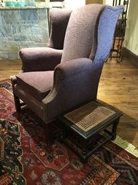 Vintage Wingback Chair with nail head details and an English barley twist footstool with cane top.   (Set up and Photo by BC)