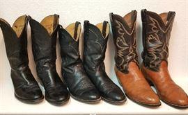 Men's Justin, Nocona, & Larry Mahan Cowboy Boots. Sizes Approx. 10 1/2 - 11