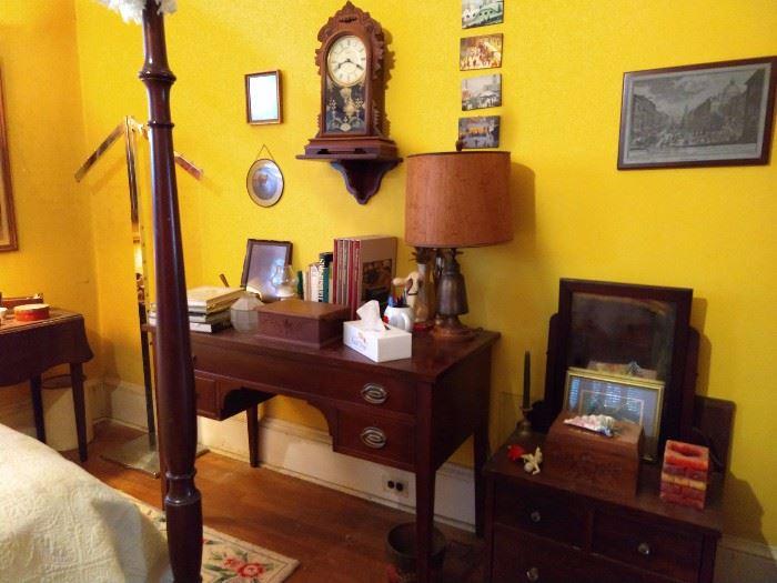 1940's mahogany desk (by Bigg's Furniture Co., Richmond, VA) salesman's sample mahogany dresser, vintage oak wall clock.