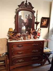 Nice Victorian 3-drawer marble-topped dresser, with matching adjustable mirror.
