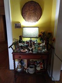 Vintage mahogany one drawer, barley twist leg side table.