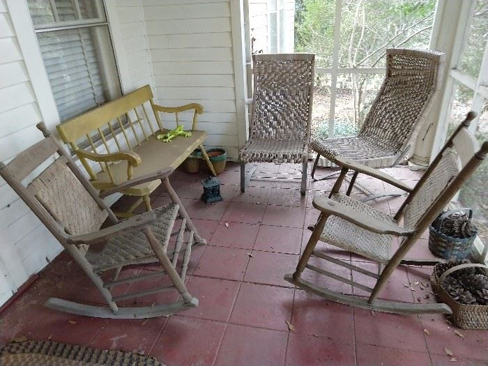 Nice pair of Brumby rockers, a home-repaint-project gone-awry settee, in Bicentennial puce.
