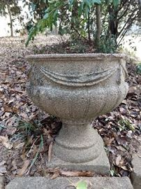 One of a pair of vintage concrete urns. We all need yard jewelry!