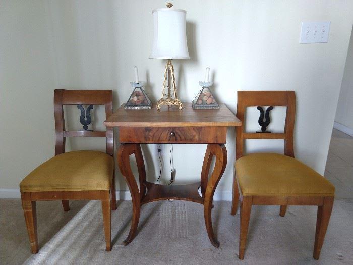 Sweet Biedermeier-ish side table, with pair of chairs.