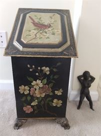 Hand painted toile coal scuttle, with cast iron boot vixen  at the ready.