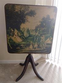 Vintage square mahogany tilt-top table.