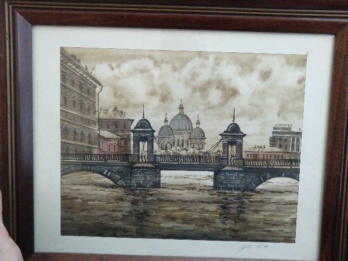 Original watercolor of some far off European capital.