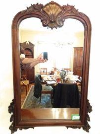 Large, vintage carved/gilt mahogany wall mirror.