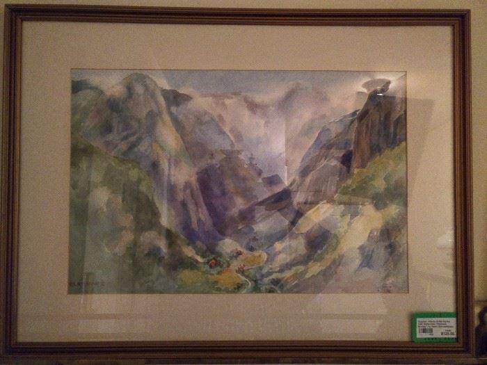 Framed/matted original watercolor, by Atlanta artist, Helen Schneeberger.