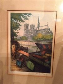 """Signed/numbered lithograph, by Victor Valering, """"Seine Booksellers""""."""