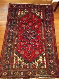 "Vintage Persian Hamadan rug, hand woven, 100% wool face, measures 6' 3"" x 4' 3""."
