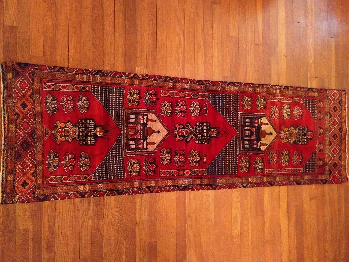 """Vintage Afghan Baluch runner, hand woven, 100% wool face, measures 6' 9"""" x 2' 1""""."""