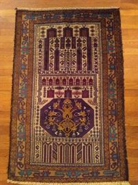 """Vintage Afghan Baluch rug, hand woven, 100% wool face, measures 4' 6"""" x 2' 11""""."""