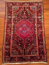 "Vintage Persian Hamadan rug, hand woven, 100% wool face, measures 5' 3"" x 3' 6""."