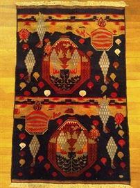 "Vintage Afghan Baluch rug, hand woven, 100% wool , measures 4' 3"" x 2' 9""."
