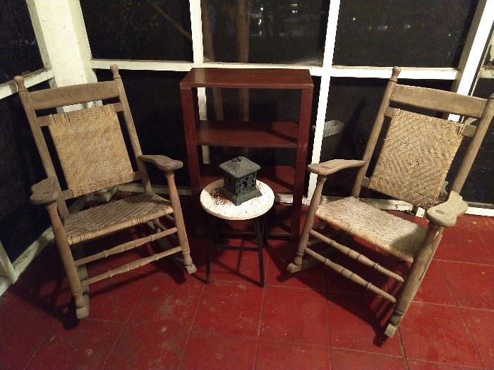 Yes, you asked for them and here they are - a pair of yummy Brumby Porch Model rockers #74, made between 1910-1940, ready for take out from Cracker Barrel...                                                                                                        All this info is straight from the source, Paul Herrington, Brumby Chair Company.                                            I know a guy!